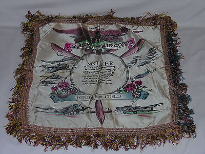 "Souvenir Mother Silk Pillow Cover WWII US Air Force Keesler Field Miss 17.5"" Sq"