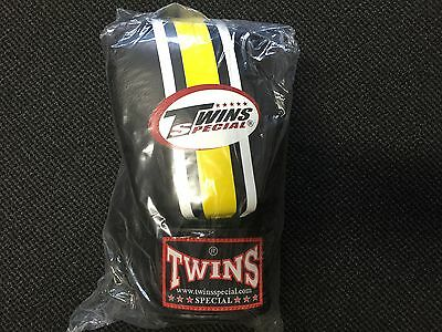 TWINS SPECIAL MUAY THAI BOXING GLOVES BLACK YELLOW 12oz MMA KICK BOXING 1 PAIR