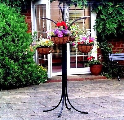 Metal Tree with 4 Hanging Basket Home Garden Decoration
