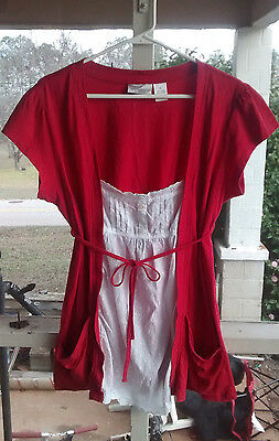 Oh Mamma! Maternity Top Women's size XL Red/White 100% Cotton