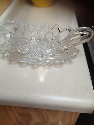 Vintage Cut Glass Gravy/sauce Boar With Drop Tray