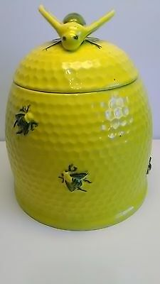 Arnels Ceramic Pottery Cookie Jar Yellow Honey Bee Bumble Bee Kitchen Vtg BIG