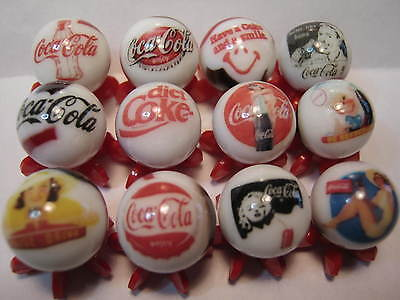 COCA COLA SODA POP GLASS MARBLES 5/8 SIZE COLLECTION LOT with STANDS