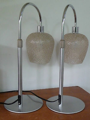 Pair modern metal table / bed  lamps, vintage glass shades. Retro.