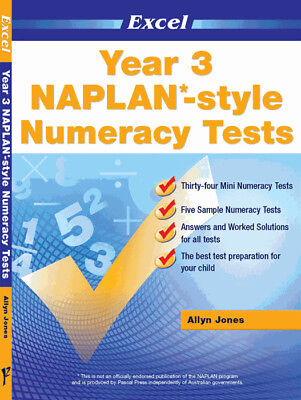 Excel NAPLAN-style Numeracy Tests Year 3  NEW Pascal Press 9781741253177