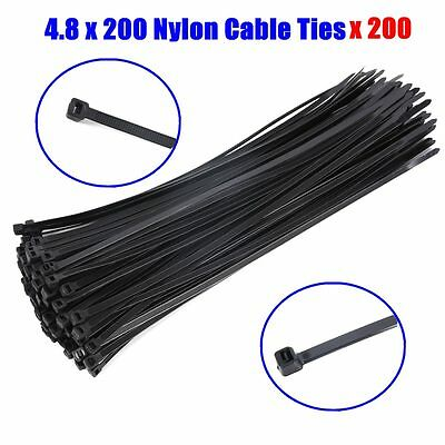 200PCS Black Electrical Nylon Cable Ties 4.8 x 200 mm UV Stabilised 50002