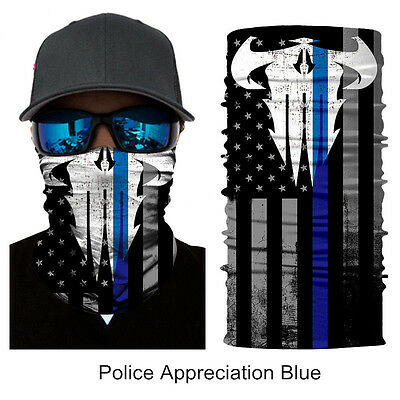 New Police Appreciation Face Shield Mask Blue Punisher Balaclava Gaiter Bandana