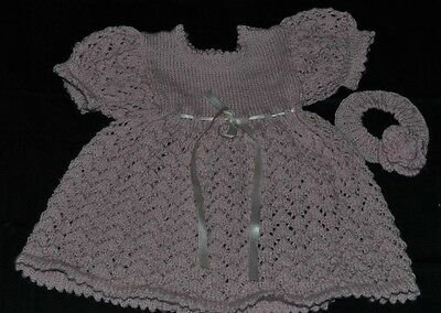 Hand Knitted New born Baby Dress and Head band set