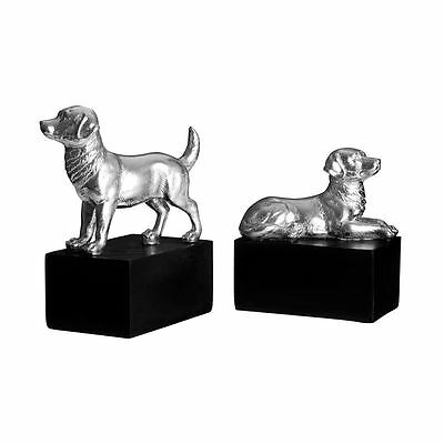 Set of 2 Dog Bookends, Polyresin, Silver / Black