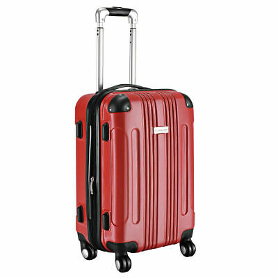 "GLOBALWAY Expandable 20"" ABS Carry On Luggage Travel Bag Trolley Suitcase Red"