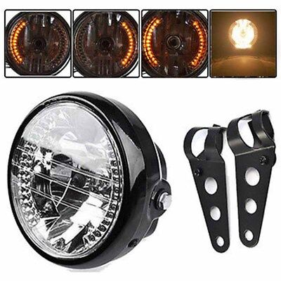 """Neuf Moto universel 7"""" phare LED clignotant lumière + Mount support noir"""
