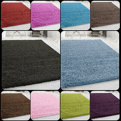 Stylish Large Small Plain Shaggy Rug Non Shaded Pile Thick Flooring Carpet Mats