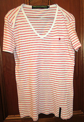 MENS T-SHIRT by PREMONITION - SIZE S - RED & WHITE STRIPE