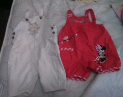 Girls dungarees red and white size 3-6 months george and mothercare