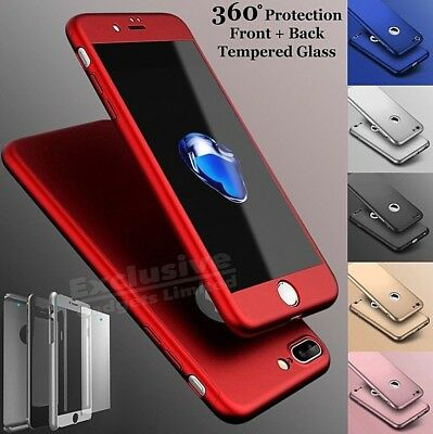 Hybrid 360 New Shockproof Case Tempered Glass Cover For Apple iPhone 8 7 5s 6 SE