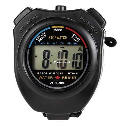 Chronograph Count Digital LCD Stop Watch Sports Alarm Timer Stopwatch VE4A