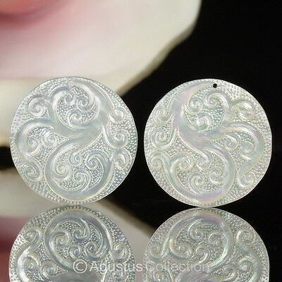 Lustrous Mother-of-Pearl SHELL CARVINGS Floral Design EARRING Pair 4.52 g