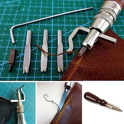 Pro 5 In 1 DIY Leather Adjustable Stitching Groover Crease Leather Tools Lot Set