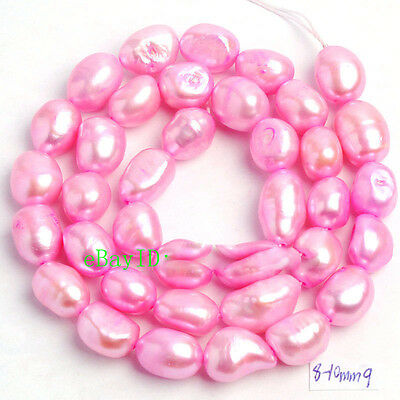 """7-9mm Natural Freshwater Cultured Pearl Freeform Gems Loose Beads Strand 15"""""""