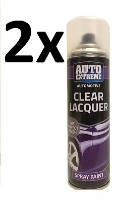 2x Auto Extreme Clear Lacquer Spray Paint Aerosol Can 250ml New
