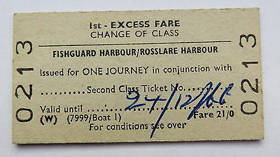 Railway ticket Fishguard- Rosslare, Excess Fare. Issued 1966.