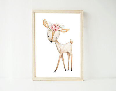 Sweet Deer Boho Floral Watercolor Print Poster Prints, Nursery Girl's Decor Art
