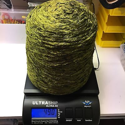Over 3 Pounds Of Plush Rayon Chenille Dark Olive Yarn Huge Amount!