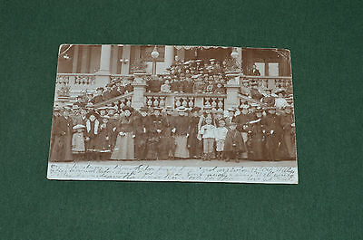 1903 large group of well dressed Edwardian people postcard posted in Paddington