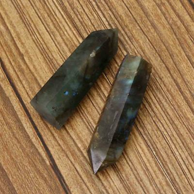 2pcs Natural Fluorite Quartz Clear Crystal Wand Point Healing Stone 50MM+