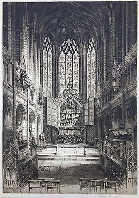 """Albany E. Howarth ARE (1872-1936) """"The Lady Chapel, Liverpool"""" Signed Etching"""