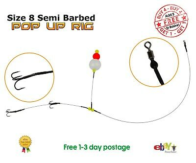 Size 8 Semi-Barbed Pop Up wire Trace BUY 4 GET 1 FREE Pike Fishing Dead Bait Rig