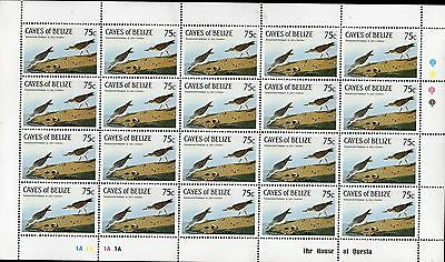 Cayes Of Belize 1985 Audubon Bird Stamps - Mint Never Hinged Complete Sheet 75C