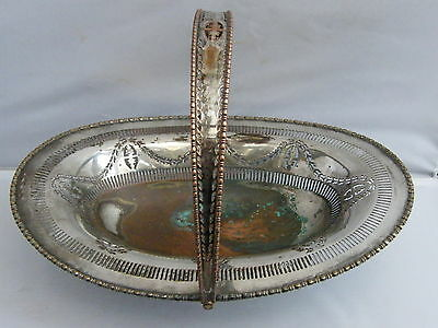 Antique-Ornate Large Silver Plated Copper Fruit Basket-circa 1890's