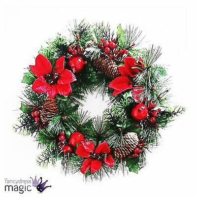 *Christmas Red Berries With Poinsettia Natural Pine Cone Xmas Wreath Decoration*