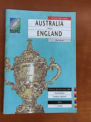 Rugby World Cup Final Programme 1991 and Stand Ticket - England v Australia