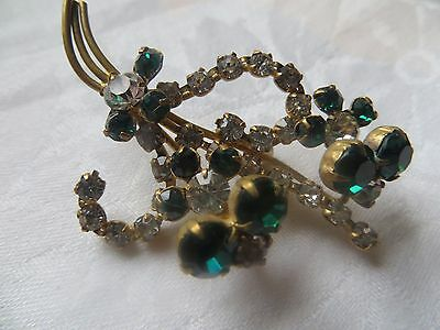Vintage green and clear rhinestone brooch