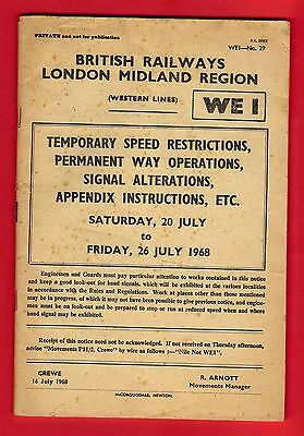 BR(M) Staff Booklet -Temporary Speed Restrictions: PW Operations etc - July 1968