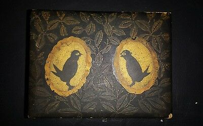 Antique Lacquered Wood Hand Painted Playing Card Box Chinese Birds Special Dice