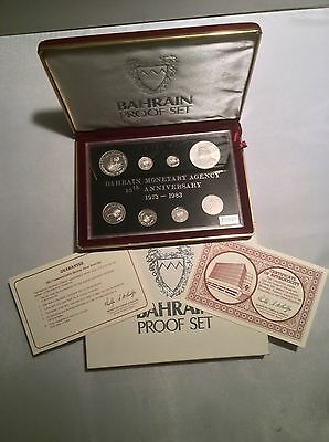 BAHRAIN 8 Coins 1983 Sterling Silver Proof Set! Minted by the Royal Mint, UK.