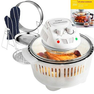 VonShef Premium 12L Halogen Convection Oven Cooker & Extender Ring & Accessories