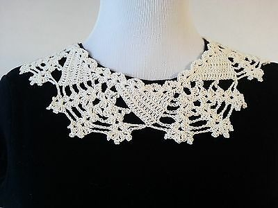 Hand Crocheted Lace Collar Vintage Victorian Style Pearl Button Close