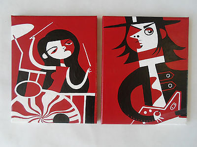 White Stripes Jack & Meg White  Painted Canvas Wall Hangings / Wall Art