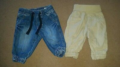 2x H&M Baby Boys Trousers. Tan. Blue Jeans. 2-4 months