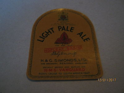 Beer Label: Simonds 1947 royal cruise h.m.s vanguard south africa king george
