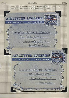 SWAZILAND SOUTH AFRICA 1951 TWO IMPRINTED 6d AIRMAILS WITH  RED OVERPRINT