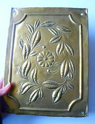 Arts & crafts hand repousse brass panel flower and foliage circa 1890- Beautiful