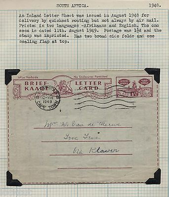 SOUTH AFRICA 1948  IMPRINTED 1 1/2d AIRMAIL 11-8-1948