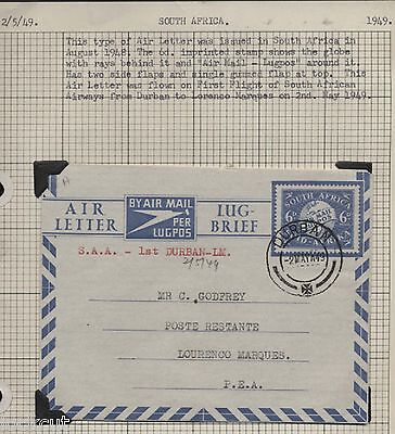 SOUTH AFRICA AIRLINES FIRST FLIGHT 2/5/49 DURBAN-LM  IMPRINTED 6d AIRMAIL