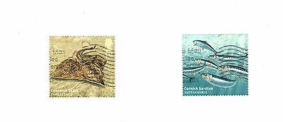 GB Stamps 2014 Sustainable Fish Used Self-adhesive Booklet Stamps SG 3632 & 3633