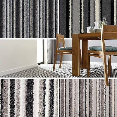 Grey Striped Carpets, Grey Stripe Carpet, Cheap Carpets, Loop, Twist & Saxony 4m